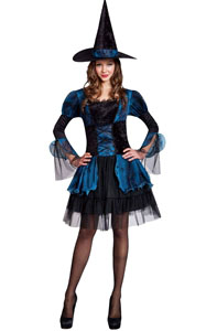 F1778 Blue Gothic Witch Adult Halloween Costume