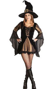 F1779 Halloween women witch costume dress with gold corset