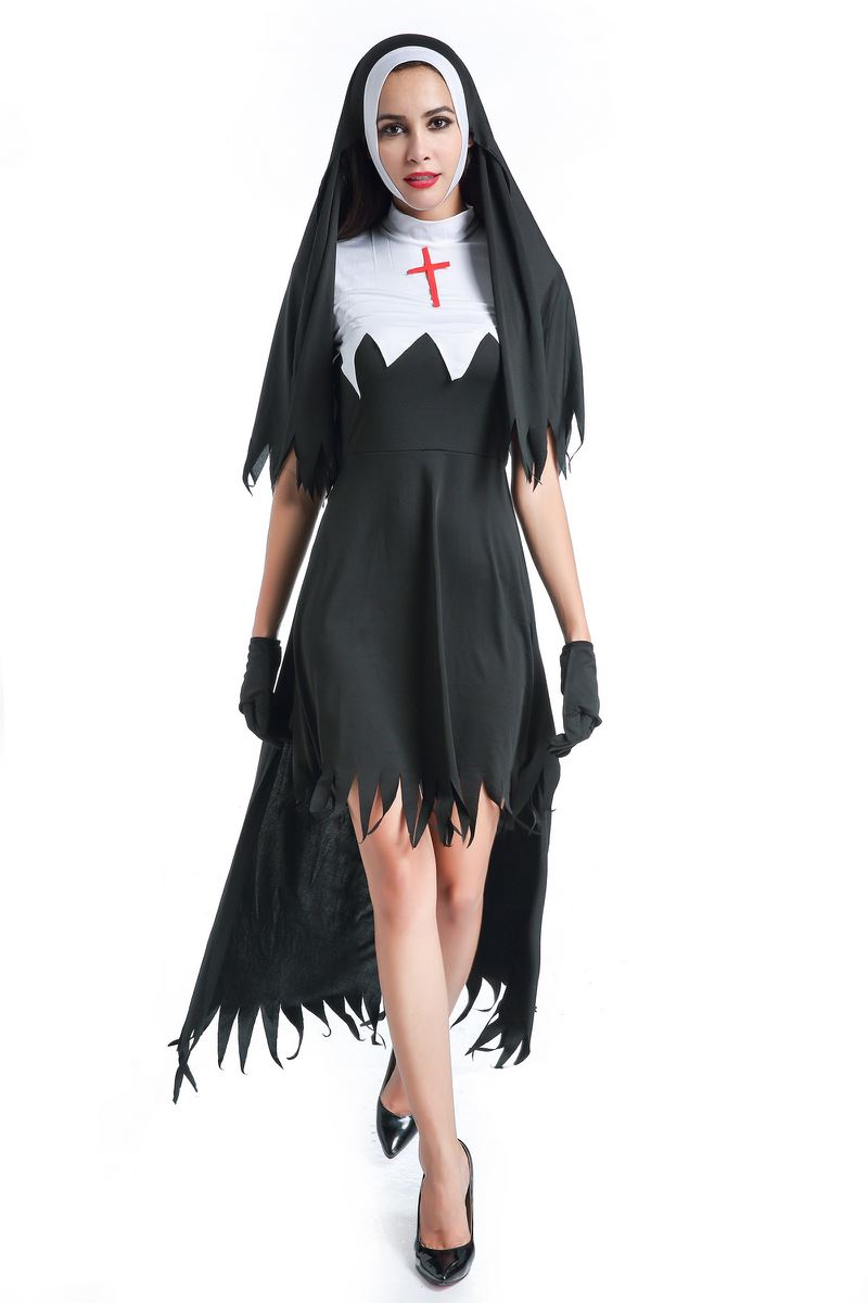 F1783 Womens Dreadful Nun Plus Size Costume