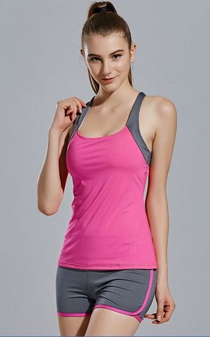 YG1073 Women s Elastic Breathable Running Gym Sport Vest and Shorts Suits