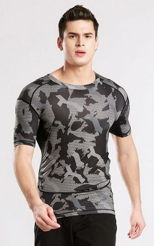 YG1080 Men s Short Sleeve Compression Tops Cool Skin Tights T Shirts