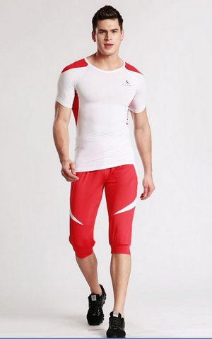 YG1081 Mens Sports Compression Skin Tights Short Sleeve Top   Pants Set