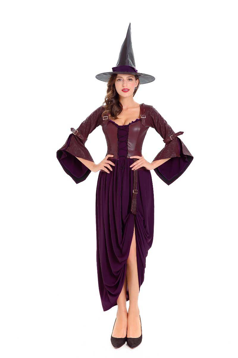 F1787 Adult Purple and Brown Salem Witch Costume