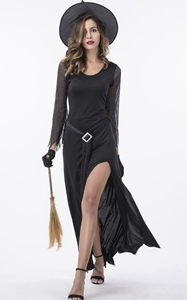 F1796 Womens Black Witch Halloween Costume