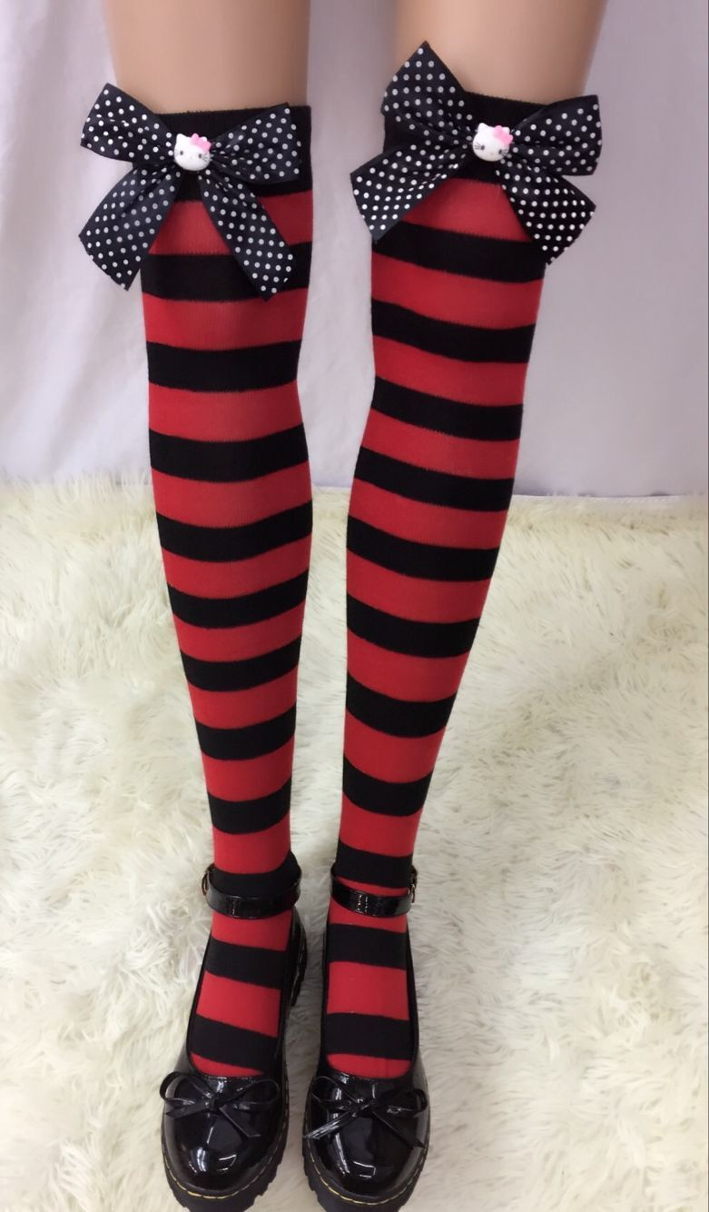F8192-2 Nylon Cute Sexy Striped Stockings For Halloween