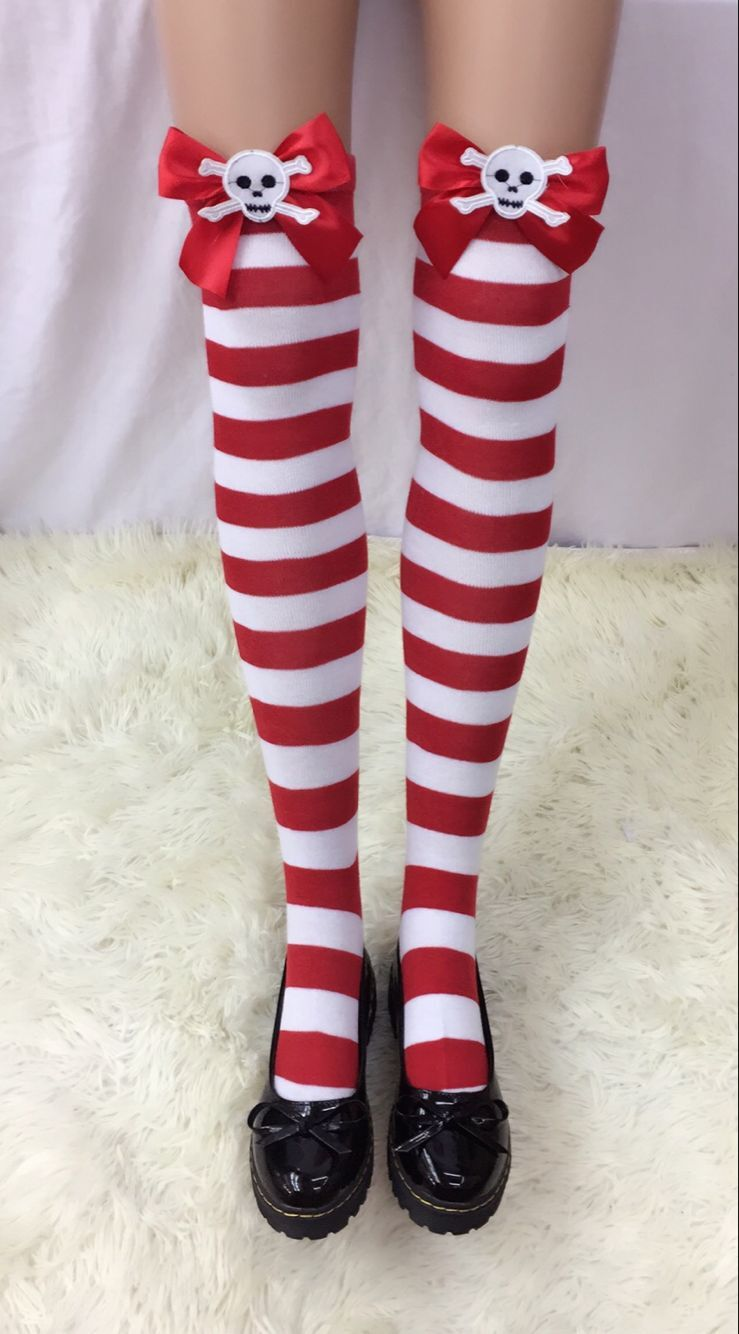 F8193-2 Nylon Cute Sexy Striped Stockings For Halloween
