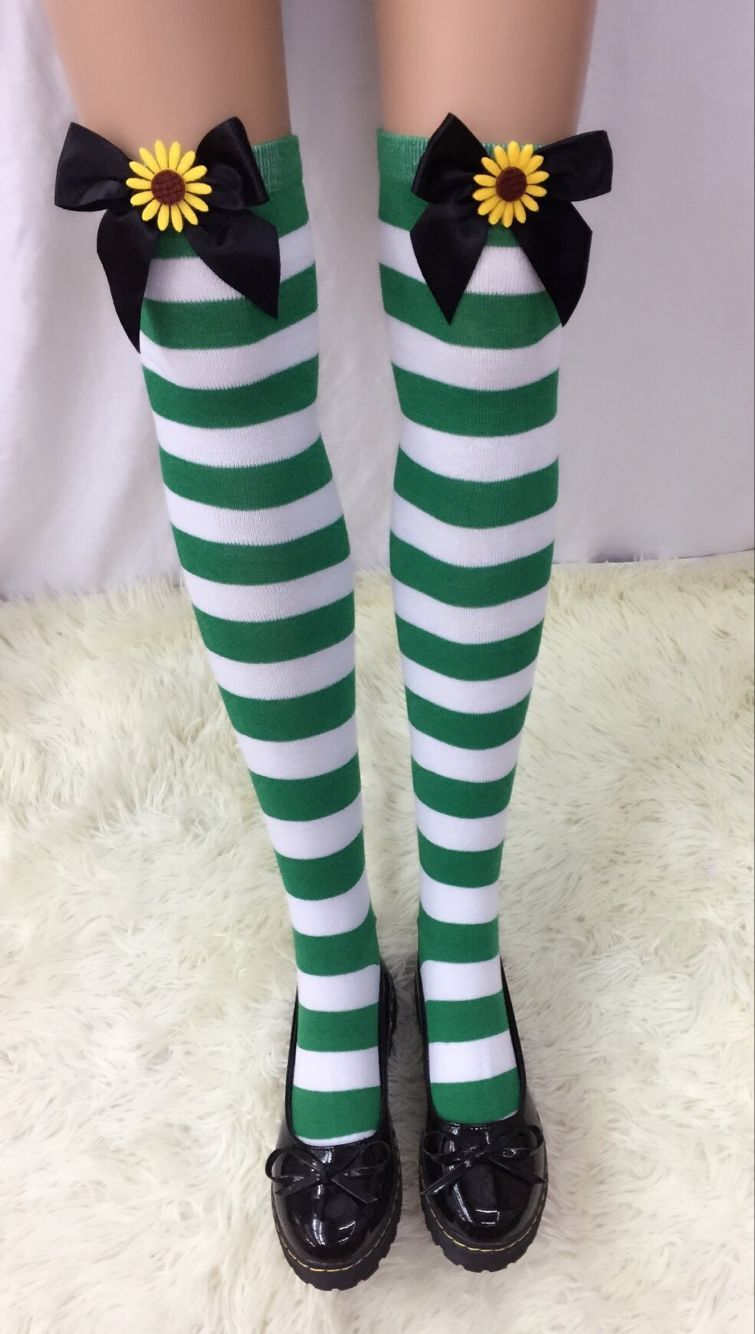 F8194-1 Womens Nylon Striped Tights Stocking