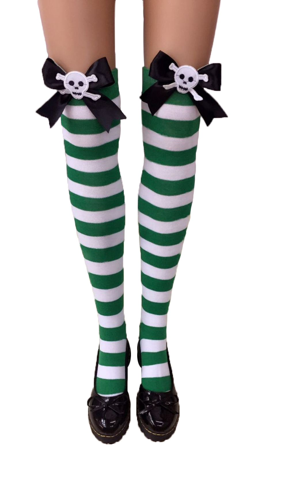 F8194-2 Womens Nylon Striped Tights Stocking