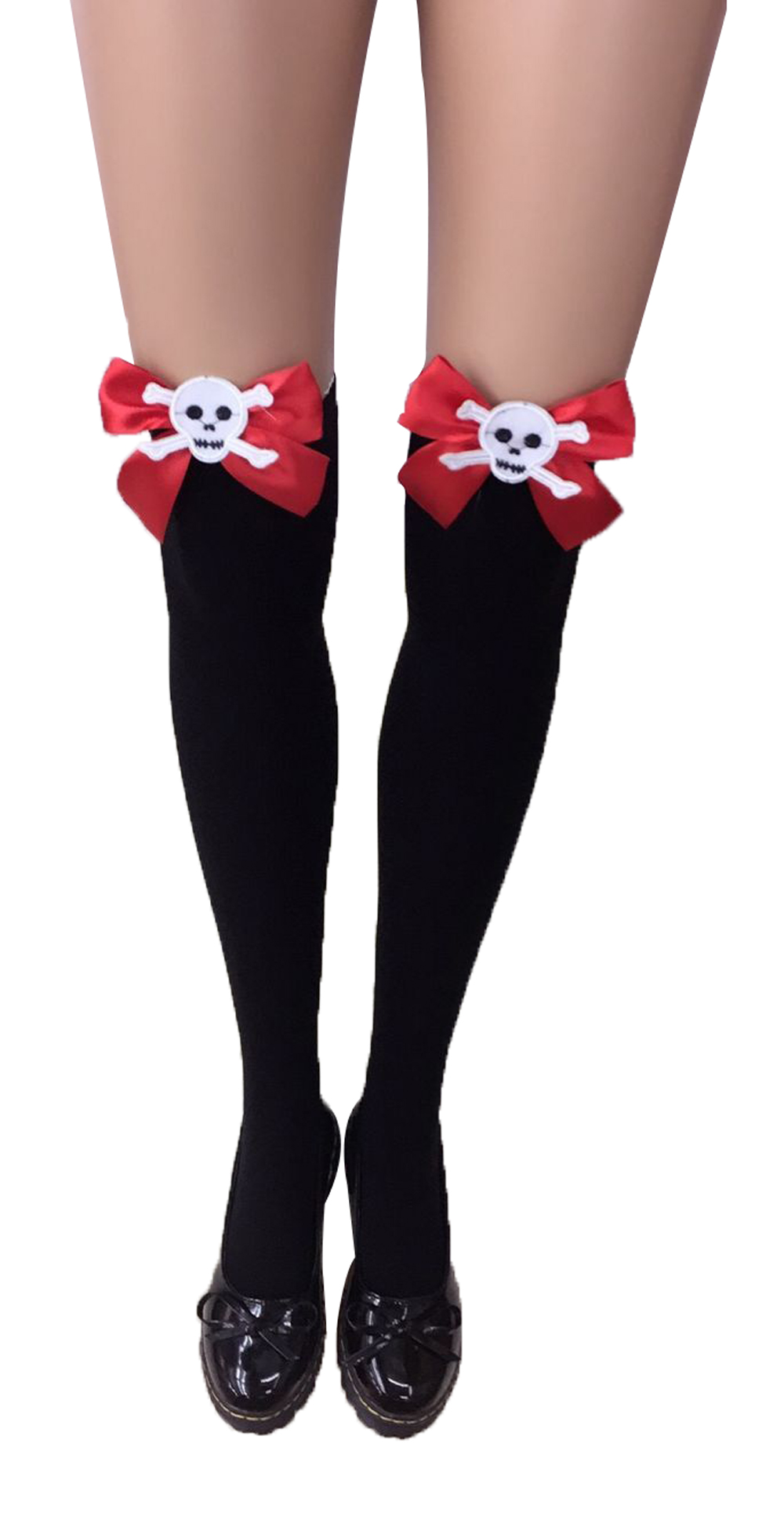 F8195-1 Thigh Stocking with Satin Bows Opaque Over The Knee Halloween Socks