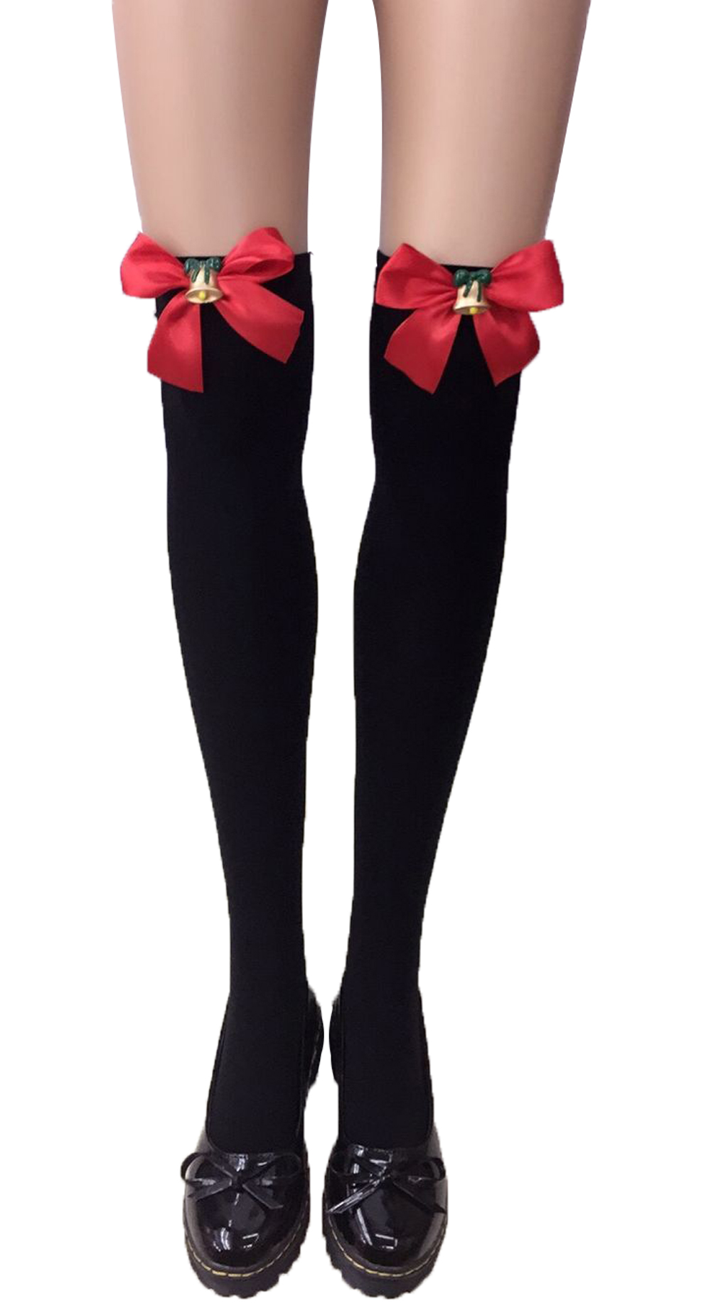 F8195-2 Thigh Stocking with Satin Bows Opaque Over The Knee Halloween Socks