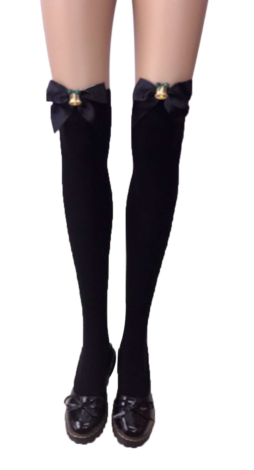 F8195-3 Thigh Stocking with Satin Bows Opaque Over The Knee Halloween Socks
