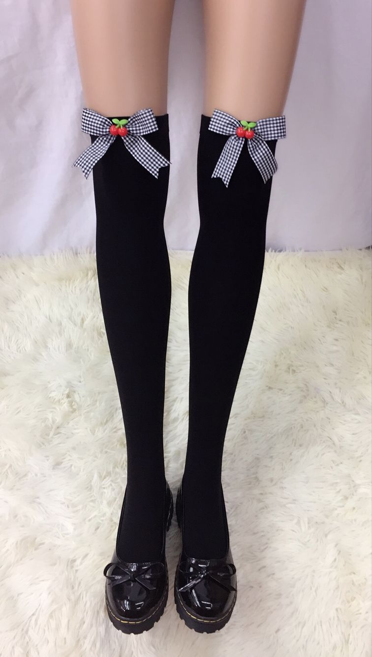 F8195-5 Thigh Stocking with Satin Bows Opaque Over The Knee Halloween Socks
