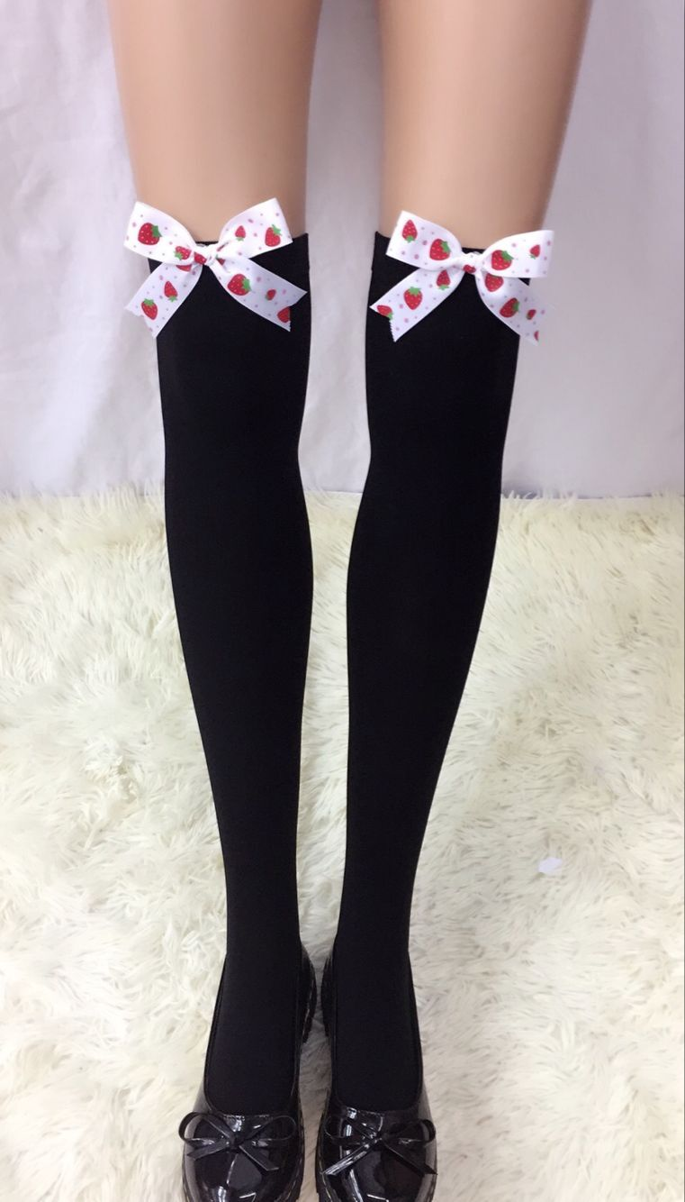 F8195-7  Thigh Stocking with Satin Bows Opaque Over The Knee Halloween Socks