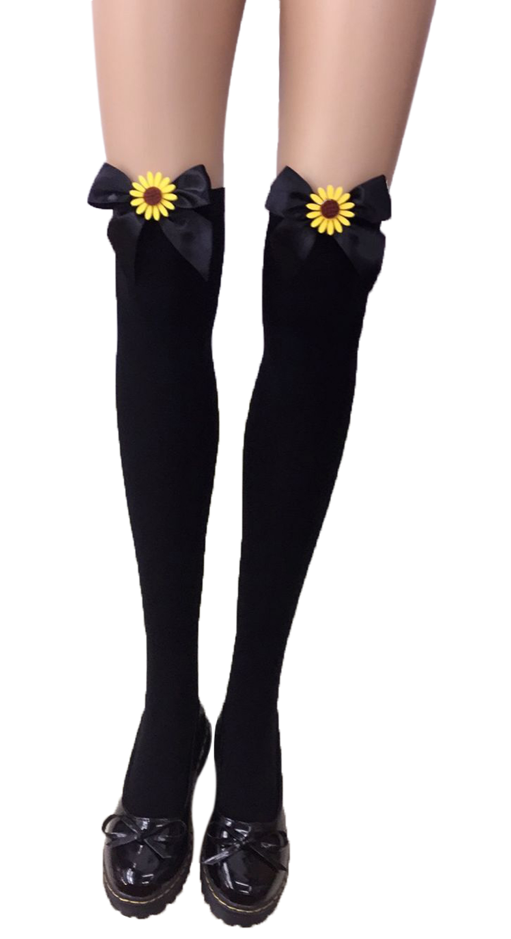 F8195-8  Thigh Stocking with Satin Bows Opaque Over The Knee Halloween Socks