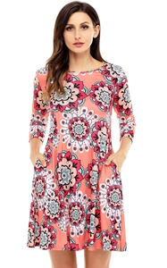 BY220051-14 Bohemian Sunflower Print Coral Dress