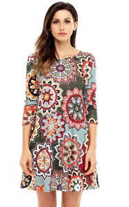 BY220051-9  Dress Sunflower Print Round Neck Long Sleeve Loose Sexy Mini Dresses