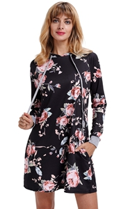 BY220131-2 Crew Neck Long Sleeve Floral Casual Pullover Hoodie Sweatshirt Dress
