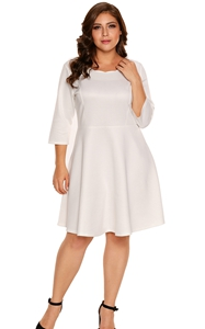BY220138-1 White Scalloped Neckline  Sleeve Skater Dress