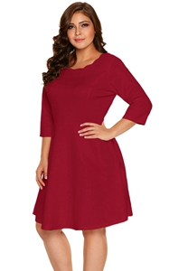 BY220138-3 Burgundy Scalloped Neckline   Sleeve Skater Dress