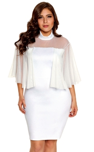 BY220153-1 White Plus Size Semi sheer Dress