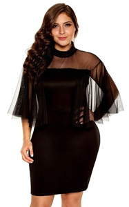 BY220153-2 Black Plus Size Semi sheer Dress