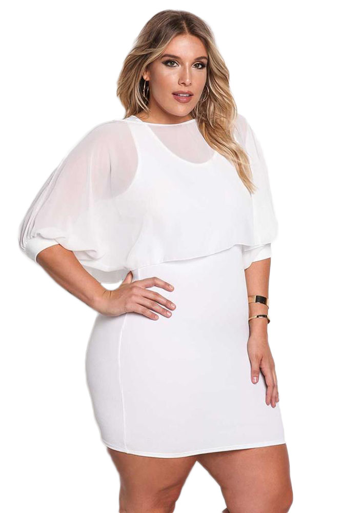BY220176-1  Plus Size Chiffon Layered Bodycon Dress