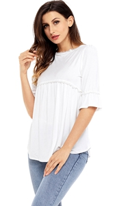 BY250232-1 White Babydoll Long Tunic Top