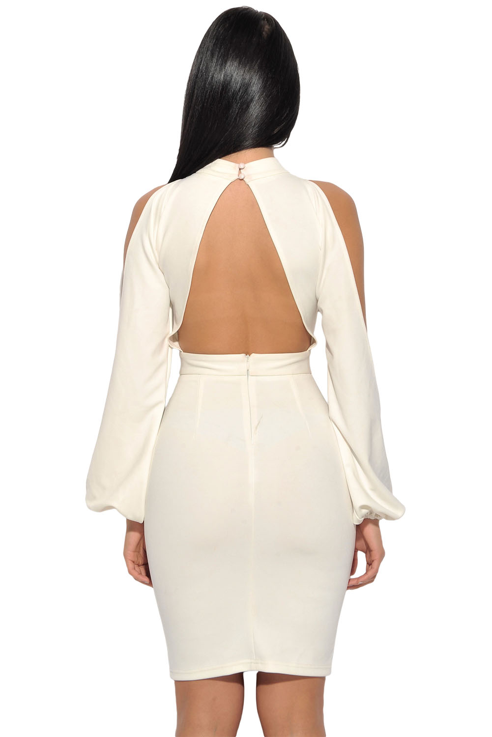 BY28466-1 White Cut Out Sleeve Stretch Crepe Bandage Party Dress