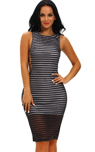 BY61073-2 Black Ribbed Crisscross Sides Dress