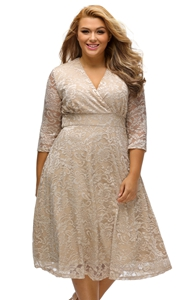 BY61442-18 Apricot Plus Size Surplice Lace Formal Skater Dress