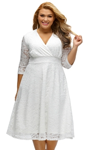 BY61442-1 White Plus Size Surplice Lace Formal Skater Dress