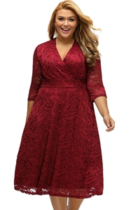 BY61442-3 Burgundy Plus Size Surplice Lace Formal Skater Dress