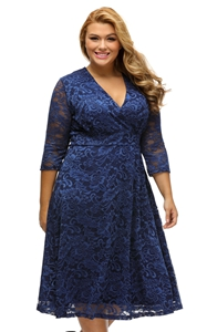 BY61442-5 Navy Blue Plus Size Surplice Lace Formal Skater Dress