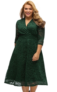 BY61442-9 Olive Plus Size Surplice Lace Formal Skater Dress