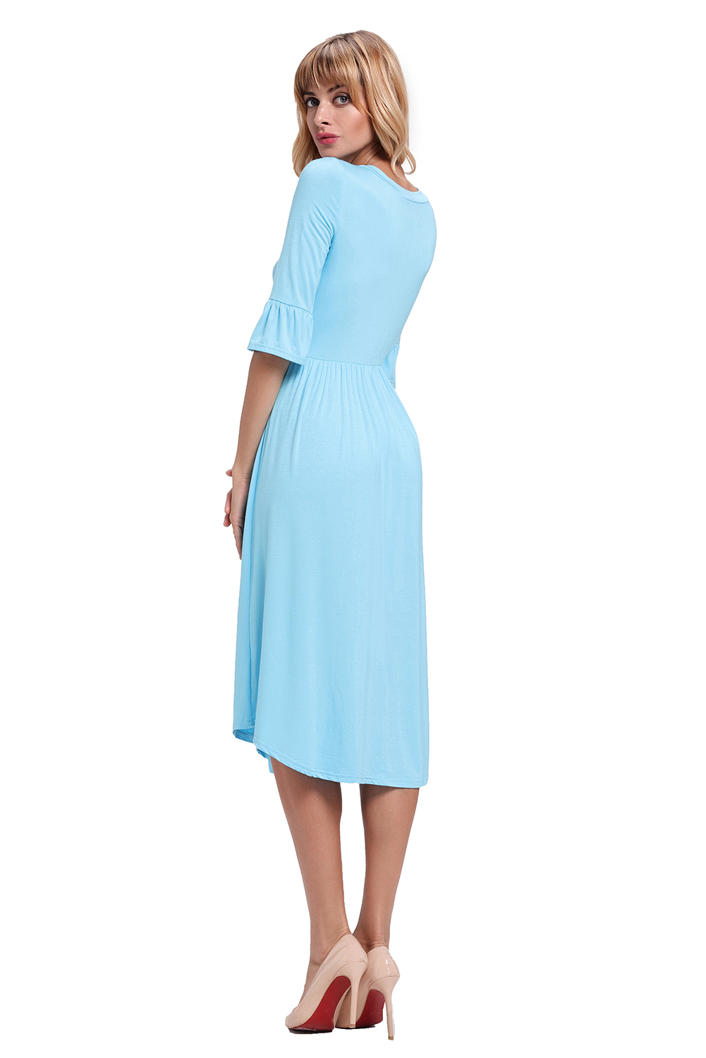 BY61652-5 Blue Ruffle Sleeve Midi Jersey Dress