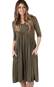 BY61653-9 Army Green  Sleeve Draped Swing Dress
