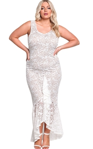 BY61689-1 White Plus Size Floral Lace Ruffle Mermaid Maxi Gown