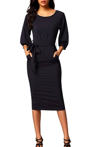 BY61691-2 Black Puff Sleeve Belt Chiffon Pencil Dress