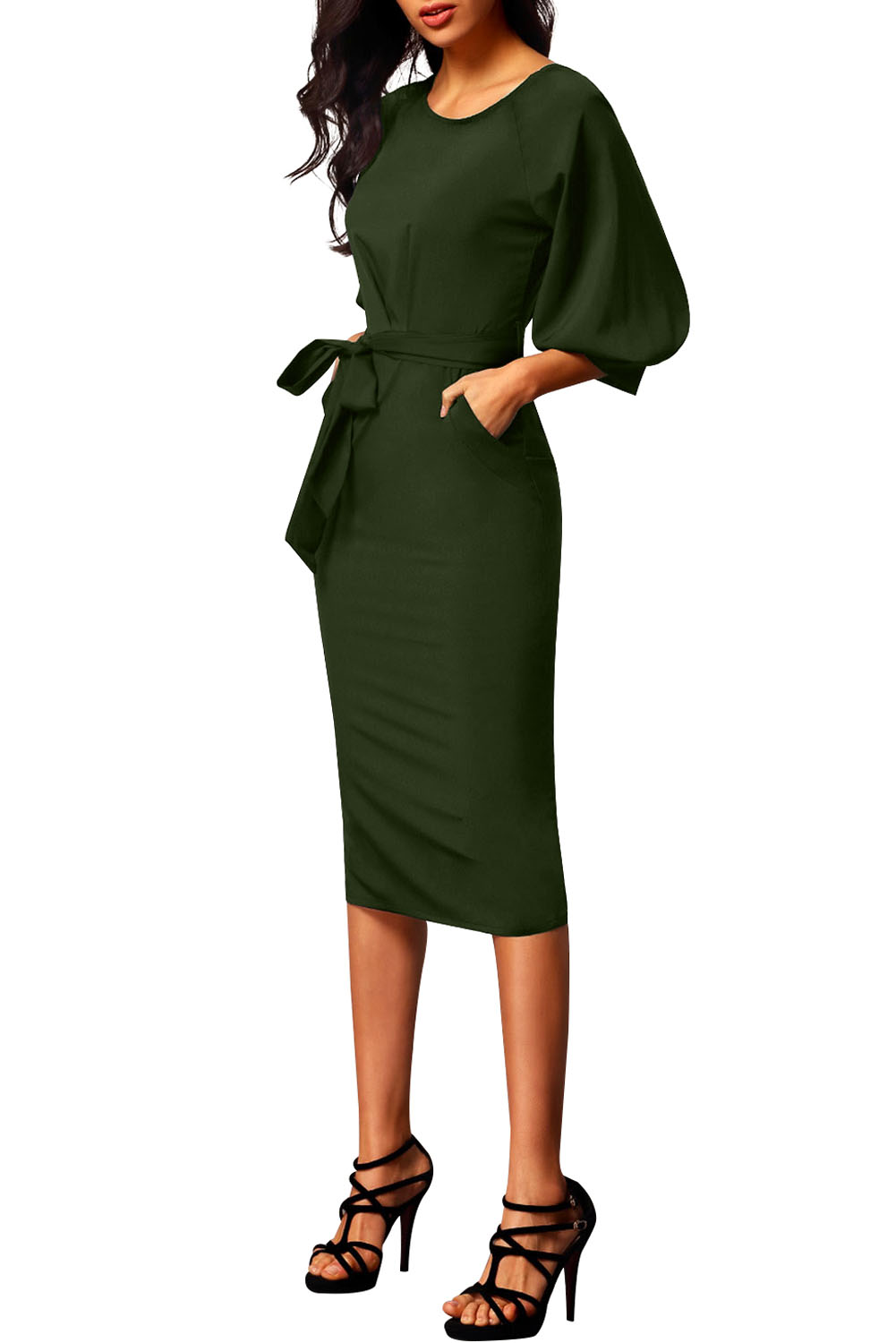 BY61691-9 Army Green Puff Sleeve Belt Chiffon Pencil Dress