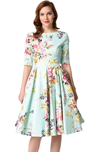 BY61702-109 Mint Vintage Style Floral Half Sleeve Swing Dress