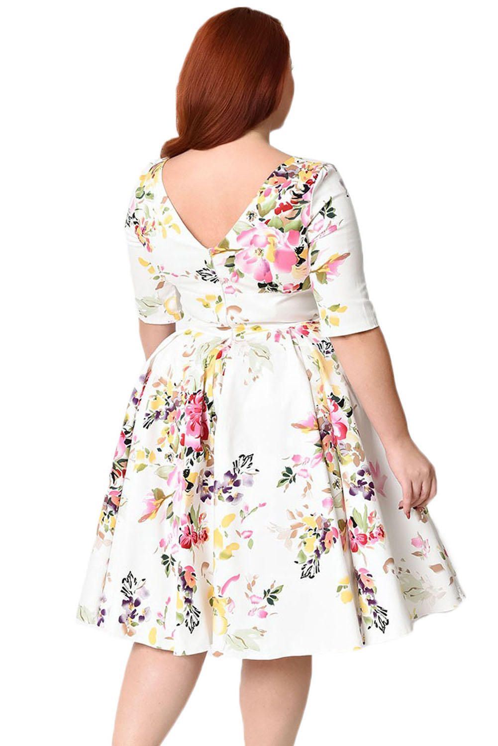 BY61702-1 Vintage Style Floral Half Sleeve Swing Dress