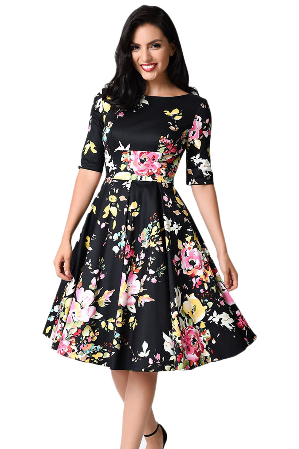BY61702-2 Black Vintage Style Floral Half Sleeve Swing Dress