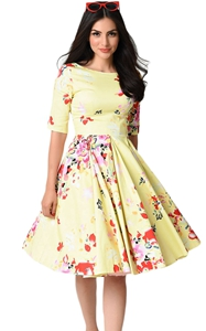 BY61702-7 Yellow Vintage Style Floral Half Sleeve Swing Dress