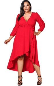 BY61759-3 Red Ruffle Wrap Plus Size Hi-low Dress