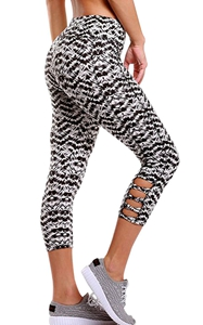 BY77026-1 Light Monochrome Print Crisscross Detail Leggings