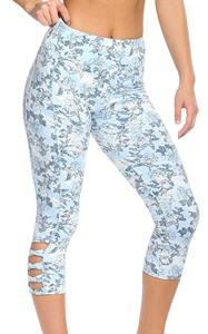 BY77026-4 Light Blue Print Crisscross Detail Leggings