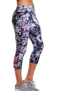 BY77026-8 Dusty Purple Print Crisscross Detail Leggings