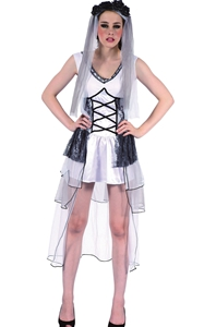 F1786 Halloween Corpse Fancy Dress Party Zombie Wedding Deathly Bride