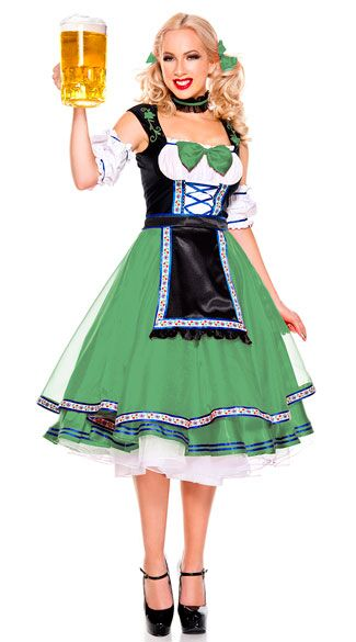 F1794-1 Green & Black Oktoberfest Beer Girl Costume Set