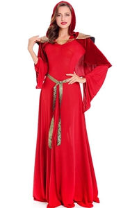 F1802 Womens Halloween Costumes Priestess The Red Woman Copslay Dresses Cloak